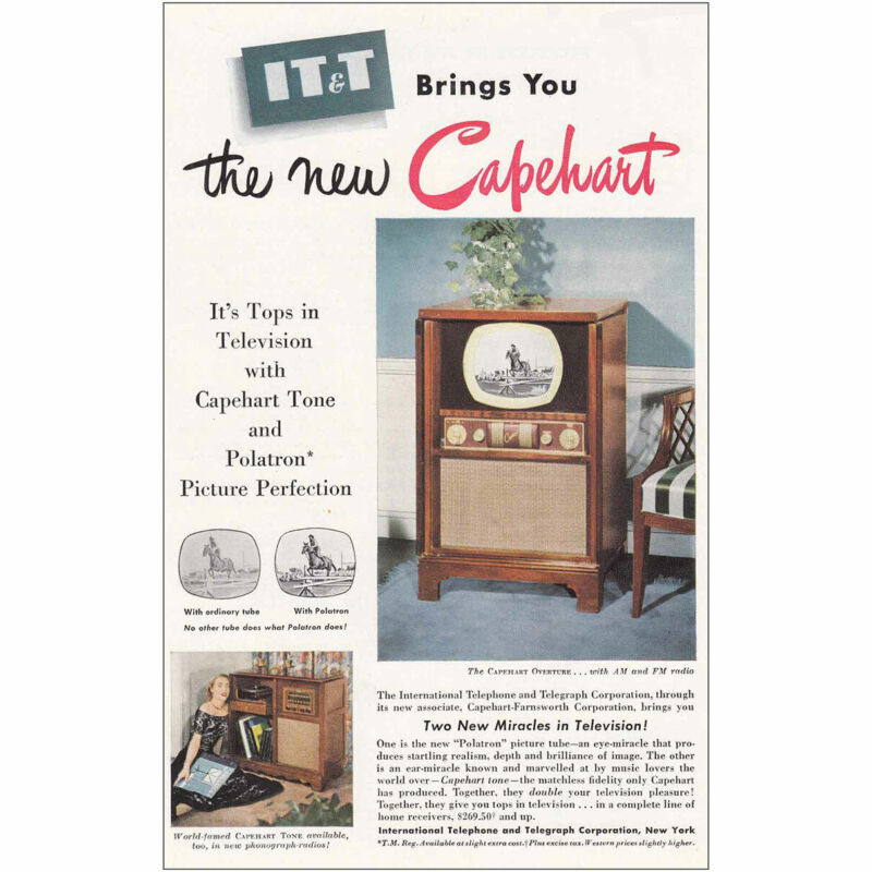 1950 IT&T Capehart Television: Capeheart Tone Vintage Print Ad