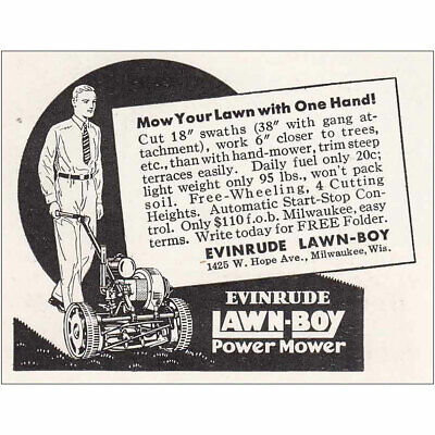 1935 Evinrude Lawn Boy Power Mower: One Hand Vintage Print Ad