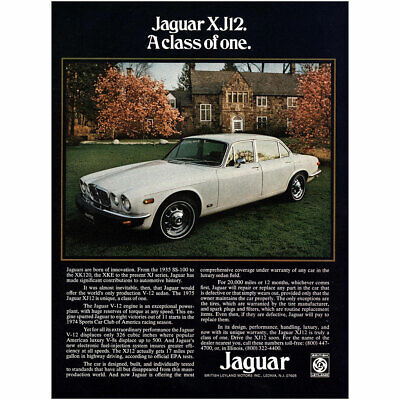 1975 Jaguar XJ12: A Class of One Vintage Print Ad