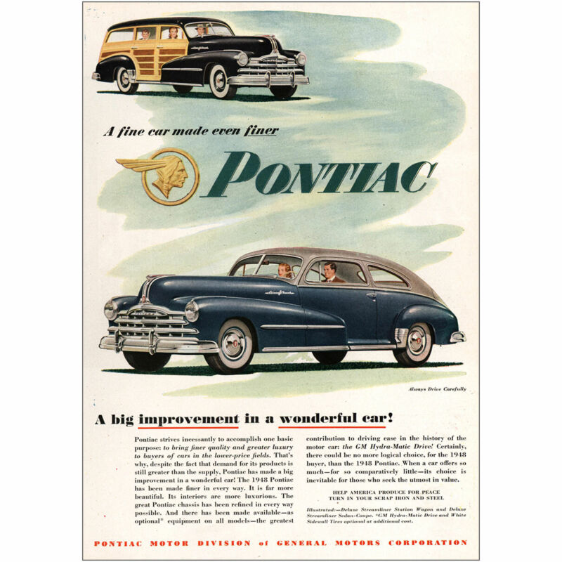 1948 Pontiac: Big Improvement in a Wonderful Car Vintage Print Ad