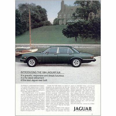 1984 Jaguar XJ6: Graceful Responsive Deeply Luxurious Vintage Print Ad