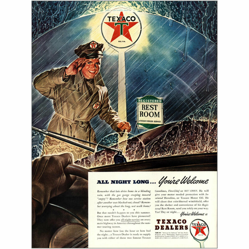 1941 Texaco: All Night Long Youre Welcome Vintage Print Ad