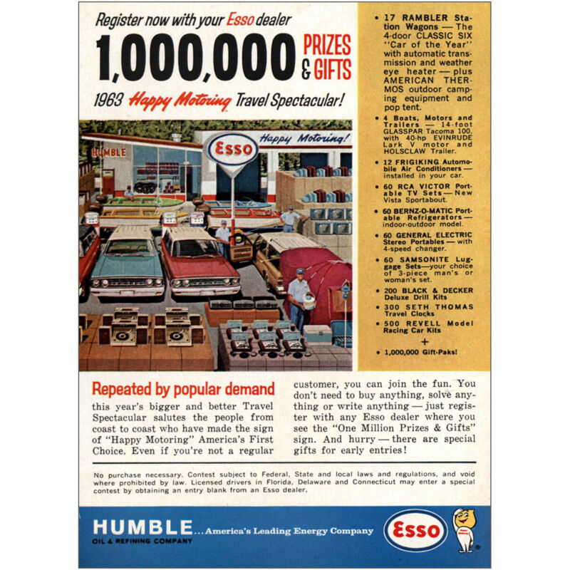 1963 Humble Oil: Happy Motoring Travel Spectacular Vintage Print Ad