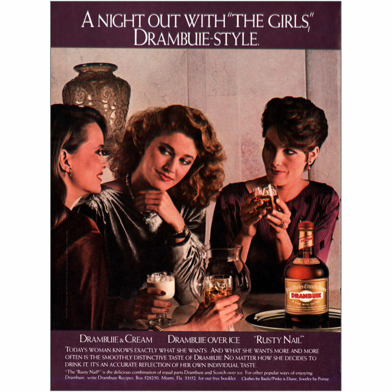 1984 Drambuie: Night Out With the Girls Vintage Print Ad