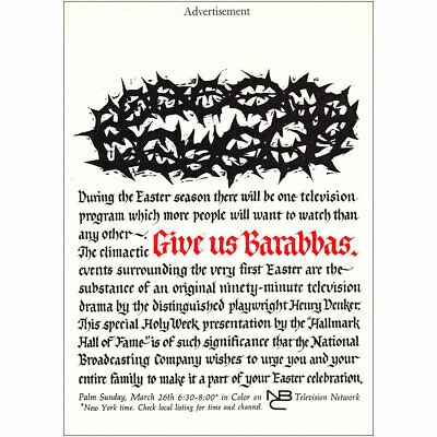 1961 NBC Television: Give Us Barabbas Easter Vintage Print Ad