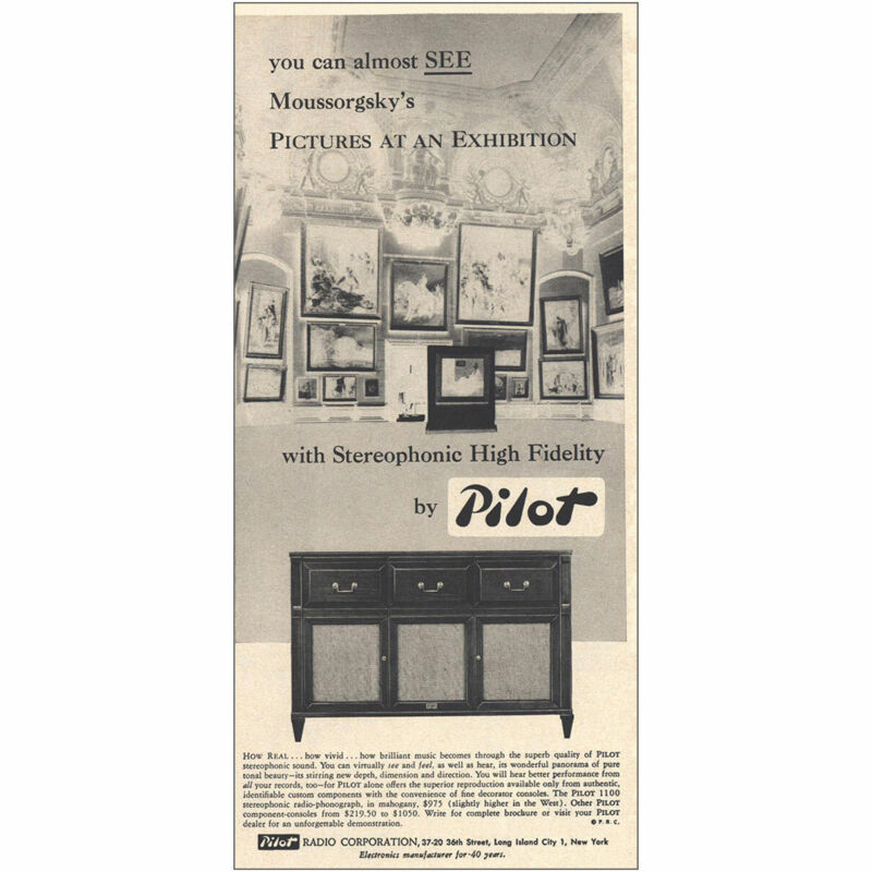 1959 Pilot Radio: Moussorgskys Pictures at an Exhibition Vintage Print Ad