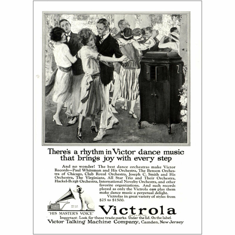 1922 Victrola: Rhythm In Victor Dance Music Vintage Print Ad