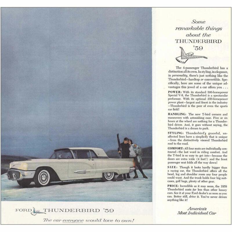 1959 Thunderbird: Skiers Vintage Print Ad