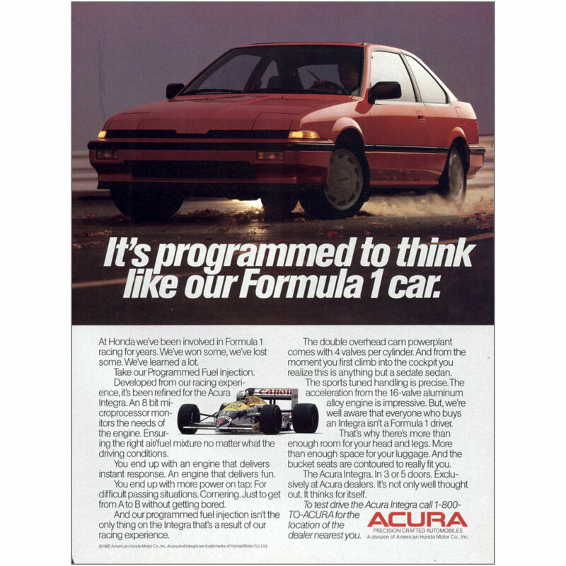 1987 Acura: Its Programmed to Think Formula 1 Vintage Print Ad