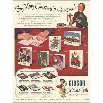 1951 Gibson Christmas Cards: Say Merry Christmas the Finest Vintage Print Ad