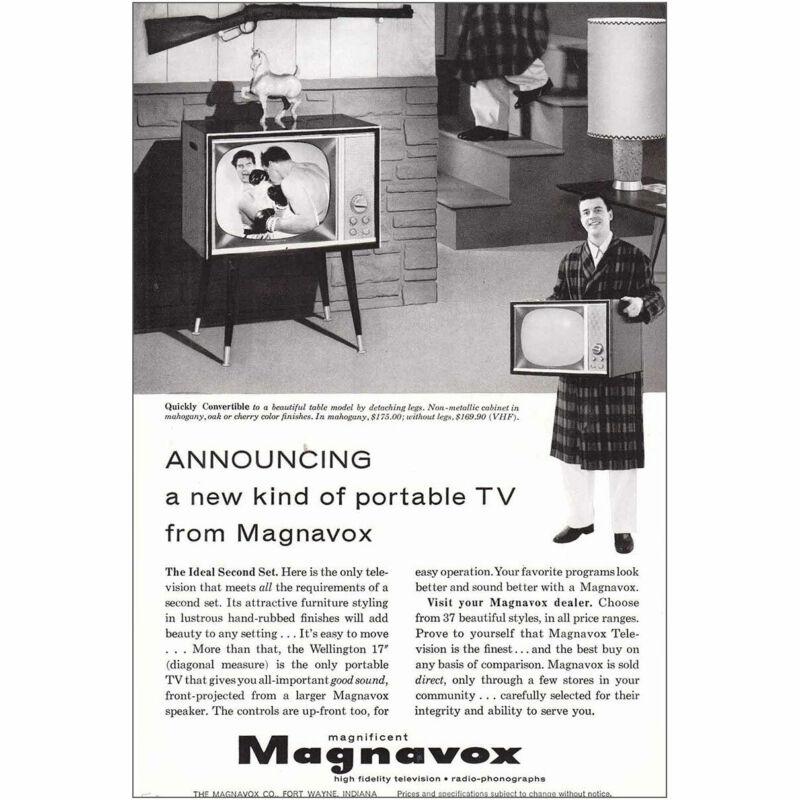1958 Magnavox Portable TV: Quickly Convertible Vintage Print Ad