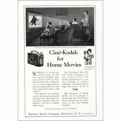 1927 Cine Kodak: Home Movies Kodascope Projector Vintage Print Ad