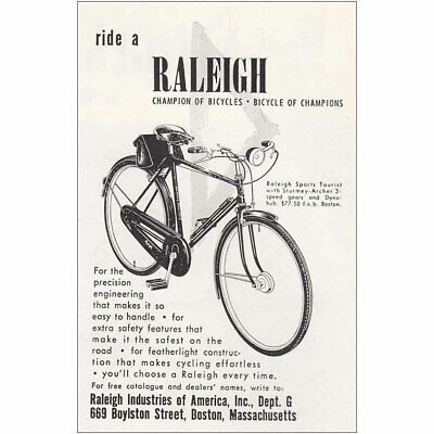 1953 Raleigh Bicycle: Ride a Raleigh Vintage Print Ad
