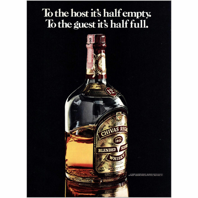1975 Chivas Regal: To the Hosts Its Half Empty Vintage Print Ad