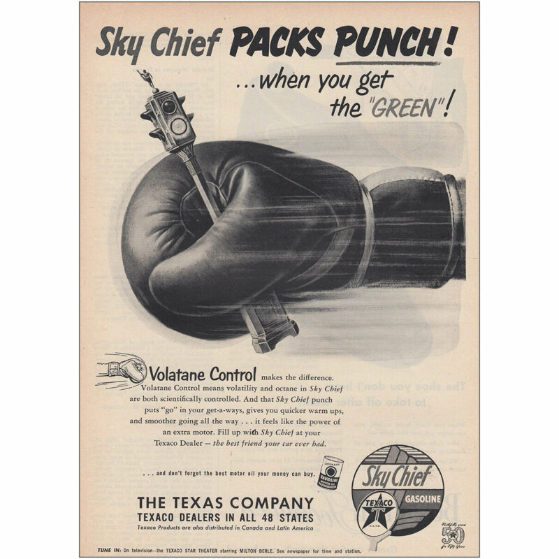 1952 Texaco: Sky Chief Packs Punch Vintage Print Ad