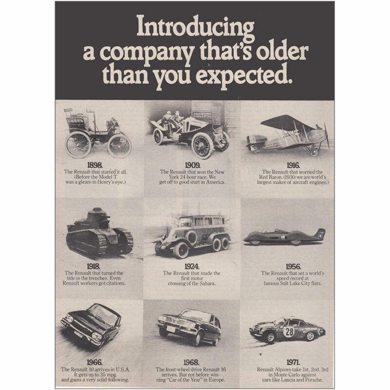 1971 Renault: Company That's Older Than You Expected Vintage Print Ad