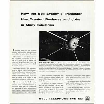 1958 Bell Telephone: Transistor Has Created Business Vintage Print Ad