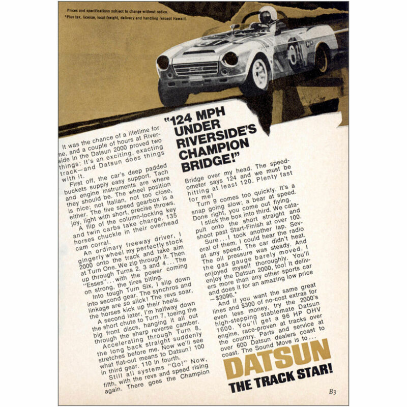 1969 Datsun: 124 Mph Under Riversides Champion Bridge Vintage Print Ad