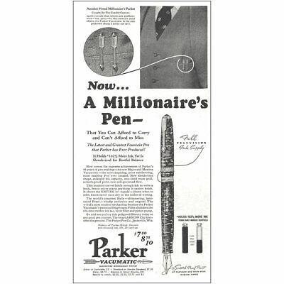 1937 Parker: A Millionaires Pen Vintage Print Ad