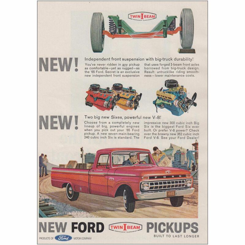 1965 Ford Pickups: Independent Front Suspension Vintage Print Ad