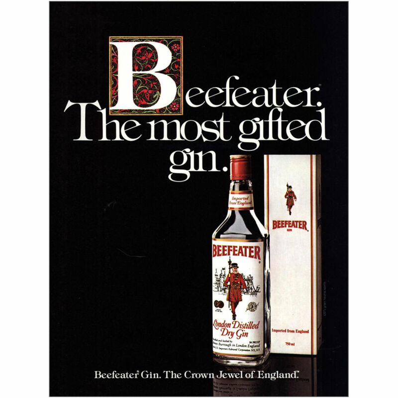 1983 Beefeater: Most Gifted Gin Vintage Print Ad
