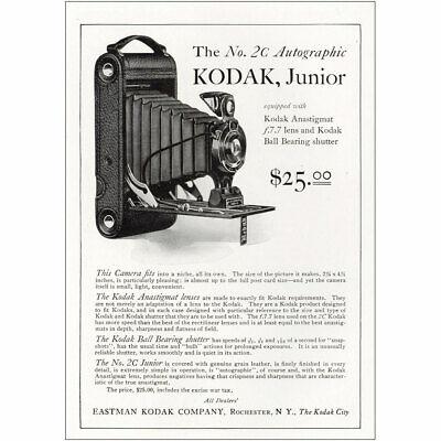 1921 Kodak Junior 2C Autographic: Anastigmat Vintage Print Ad