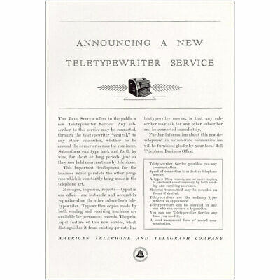 1932 American Telephone: Teletypewriter Service Vintage Print Ad