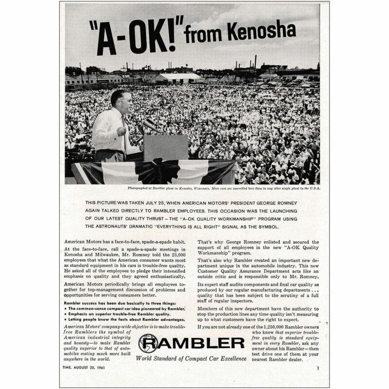1961 Rambler: A OK From Kenosha Vintage Print Ad