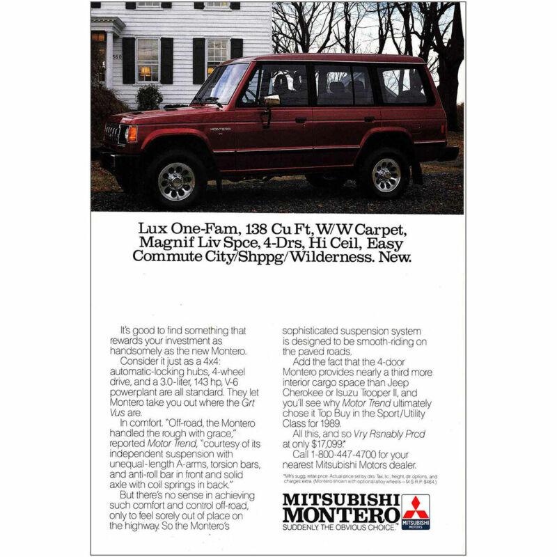 1990 Mitsubishi Montero: Lux One-Fam Vintage Print Ad