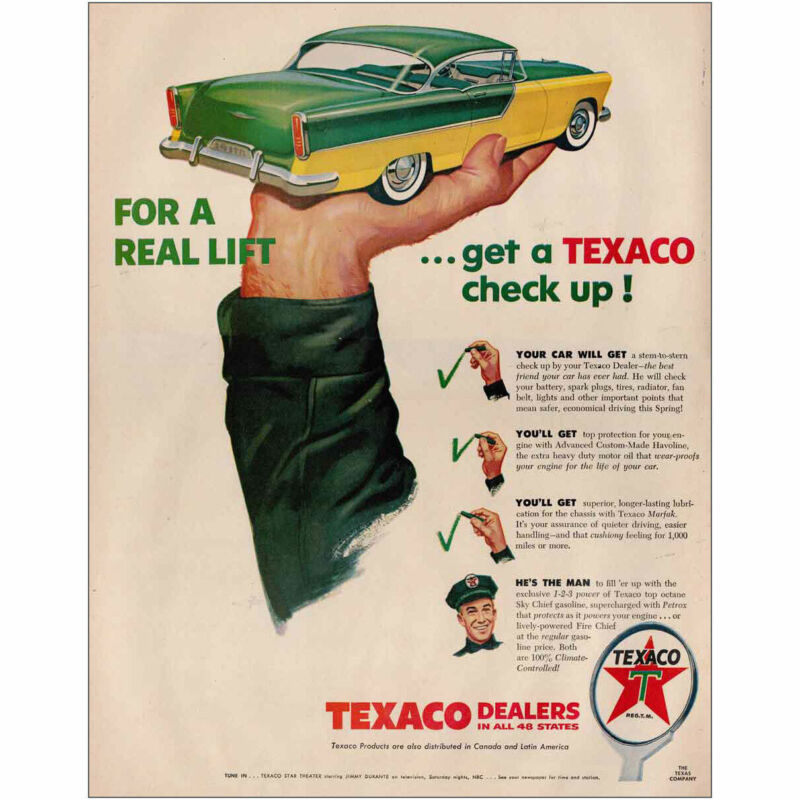 1956 Texaco: For a Real Lift Get a Texaco Check Up Vintage Print Ad