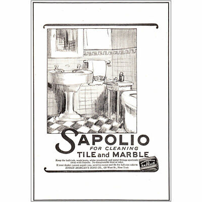 1925 Sapolio: For Cleaning Tile and Marble Vintage Print Ad