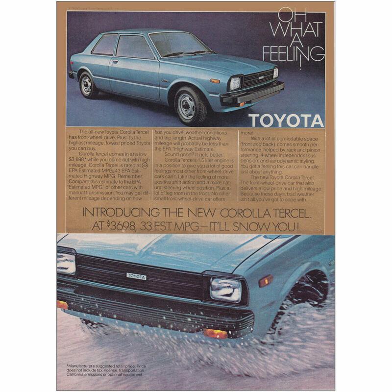1980 Toyota Corolla Tercel: Front Wheel Drive Vintage Print Ad