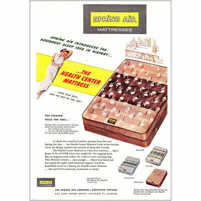 1954 Spring Air Mattress: Soundest Sleep Idea in History Vintage Print Ad