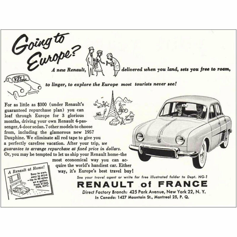 1957 Renault: Going to Europe Vintage Print Ad