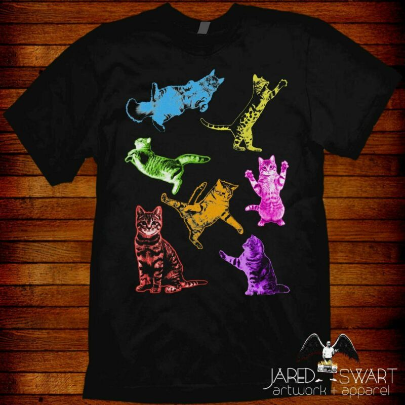 Kitty cat collage t-shirt trippy colors