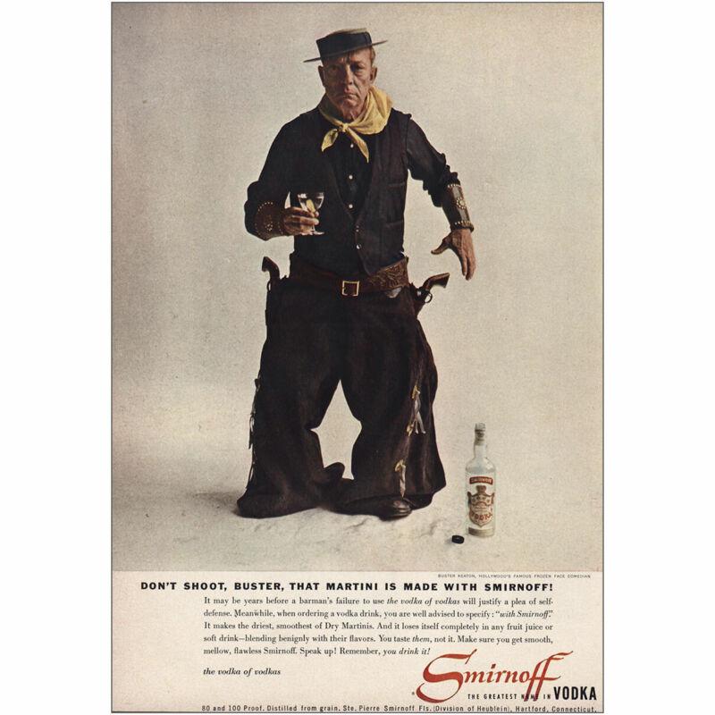 1957 Smirnoff Vodka: Buster Keaton Vintage Print Ad