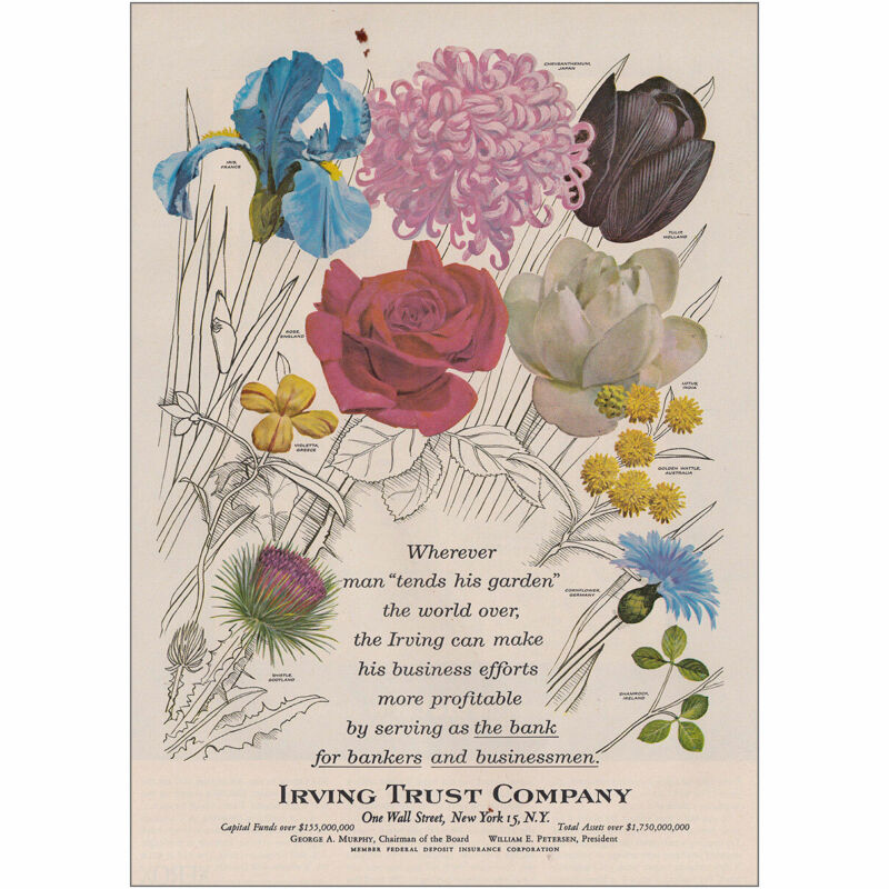 1962 Irving Trust Company: Man Tends His Garden Vintage Print Ad