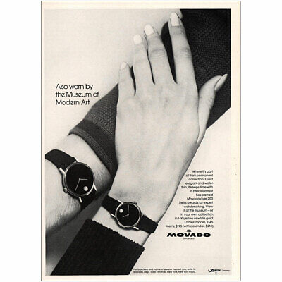 1972 Movado: Also Worn by the Museum of Modern Art Vintage Print Ad