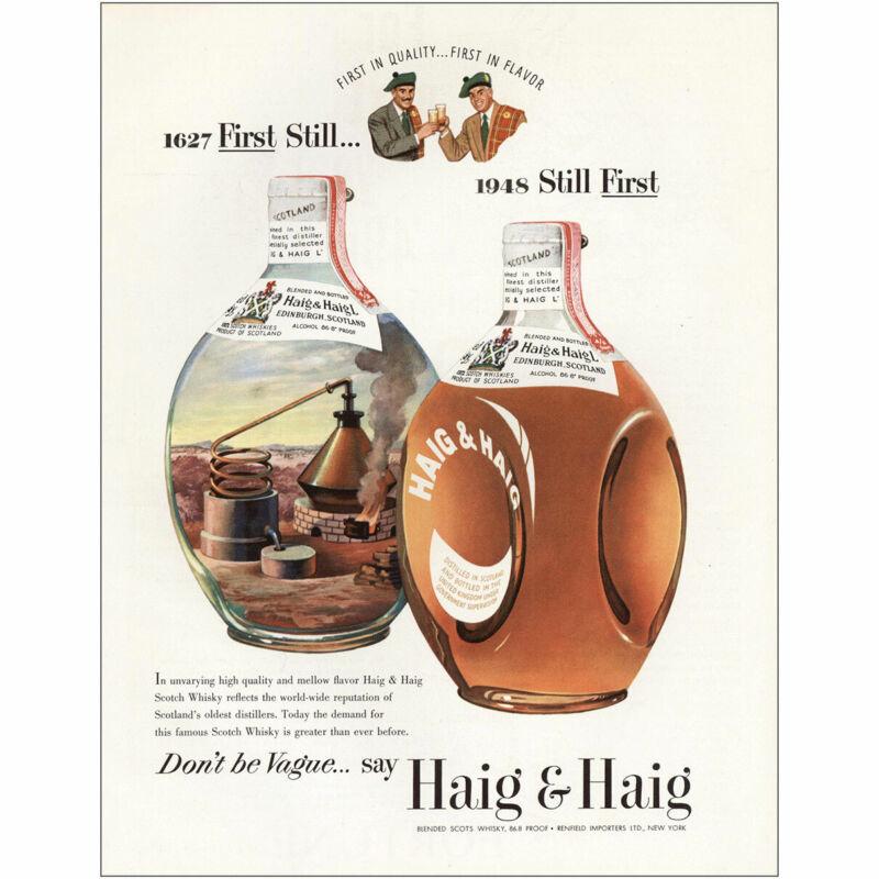 1948 Haig & Haig: First Still Vintage Print Ad