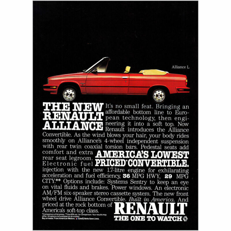 1985 Renault Convertible: Alliance L Its No Small Feat Vintage Print Ad