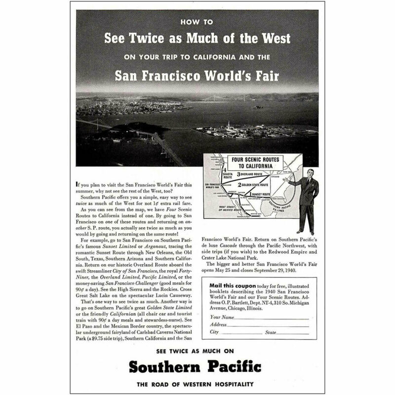 1940 Southern Pacific Railway: San Francisco Worlds Fair Vintage Print Ad