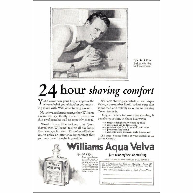 1925 Williams Aqua Velva: 24 Hour Shaving Comfort Vintage Print Ad