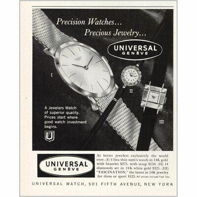1959 Universal Geneve: Premium Watches Precious Jewelry Vintage Print Ad