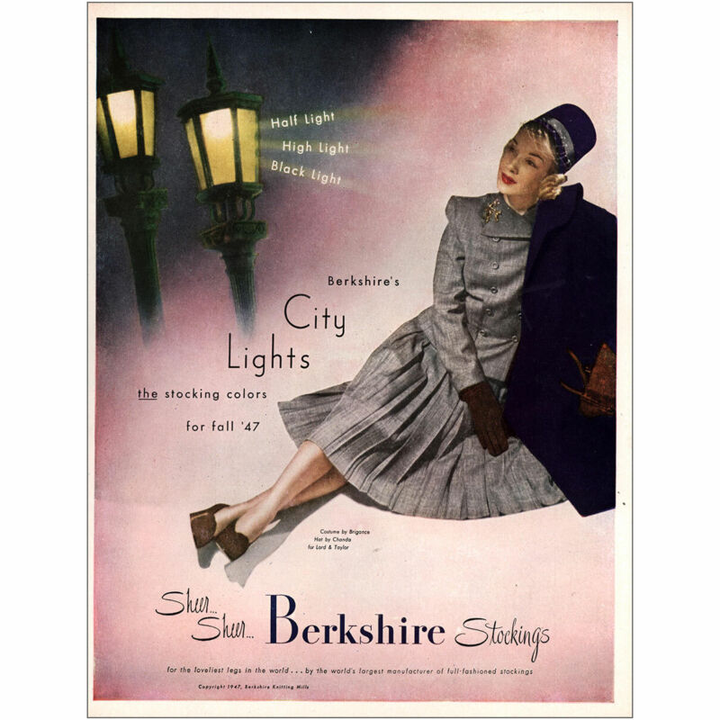 1947 Berkshire Stockings: City Lights Stocking Colors Vintage Print Ad