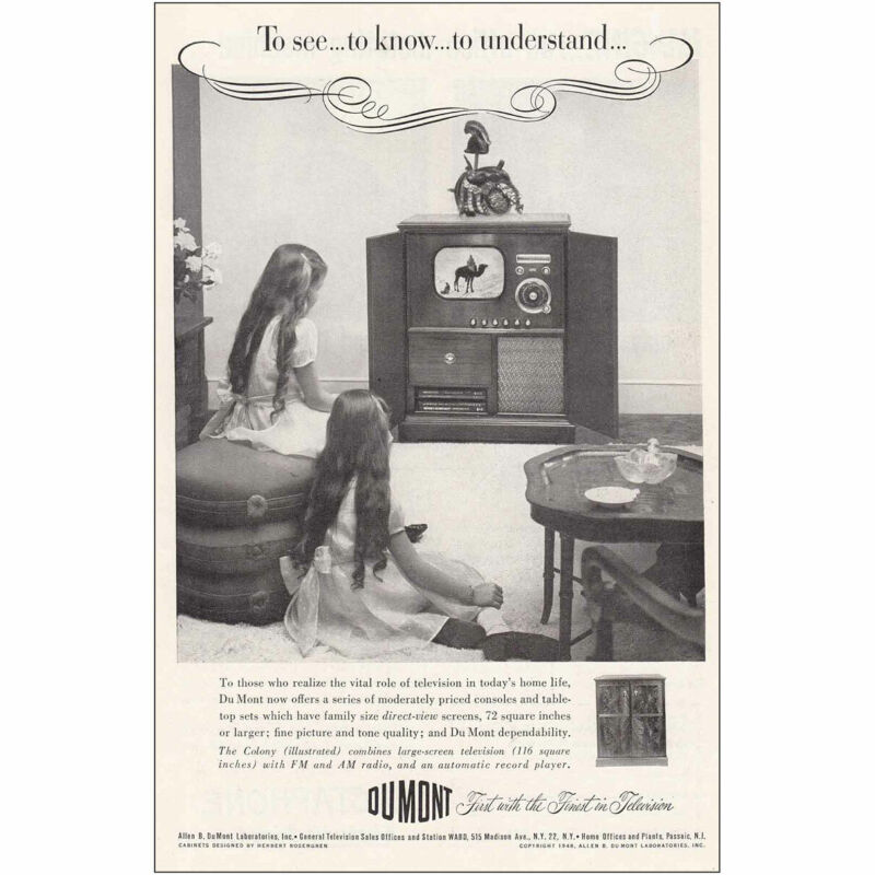 1949 DuMont Television: To See To Know Vintage Print Ad