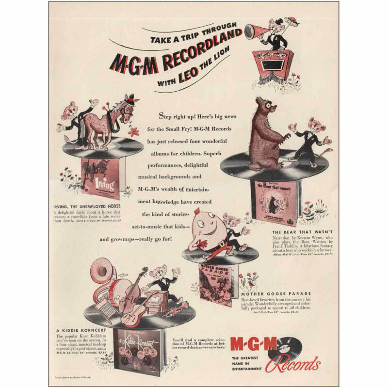 1947 MGM Records: Recordland with  Leo the Lion Vintage Print Ad