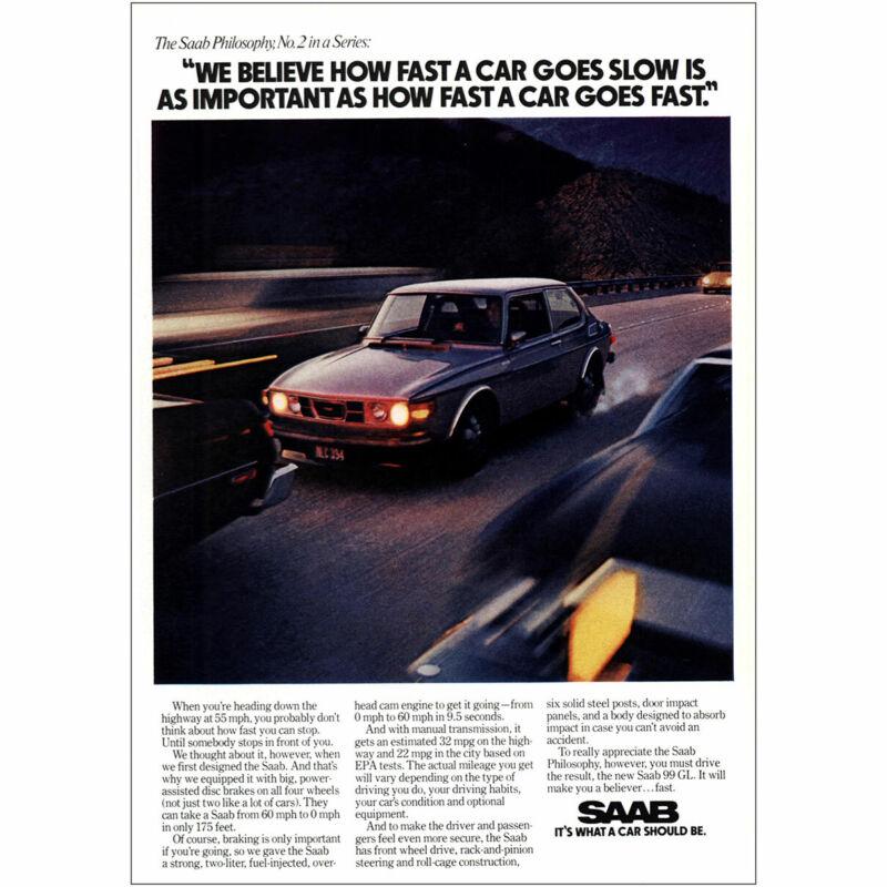 1976 Saab: How Fast a Car Goes Slow Vintage Print Ad