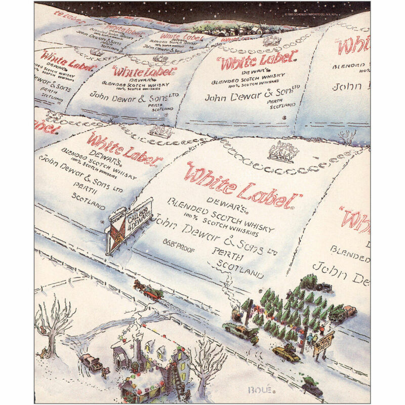 1985 Dewars White Label: Christmas Tree Farm Vintage Print Ad