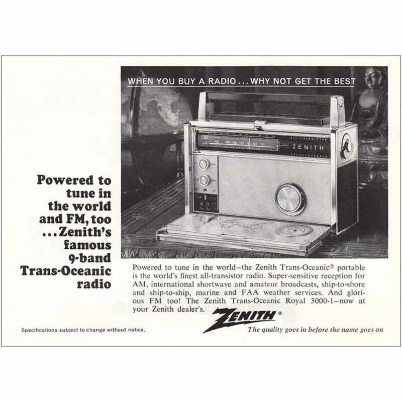 1967 Zenith Trans-Oceanic Portable Radio: 9 Band FM Vintage Print Ad