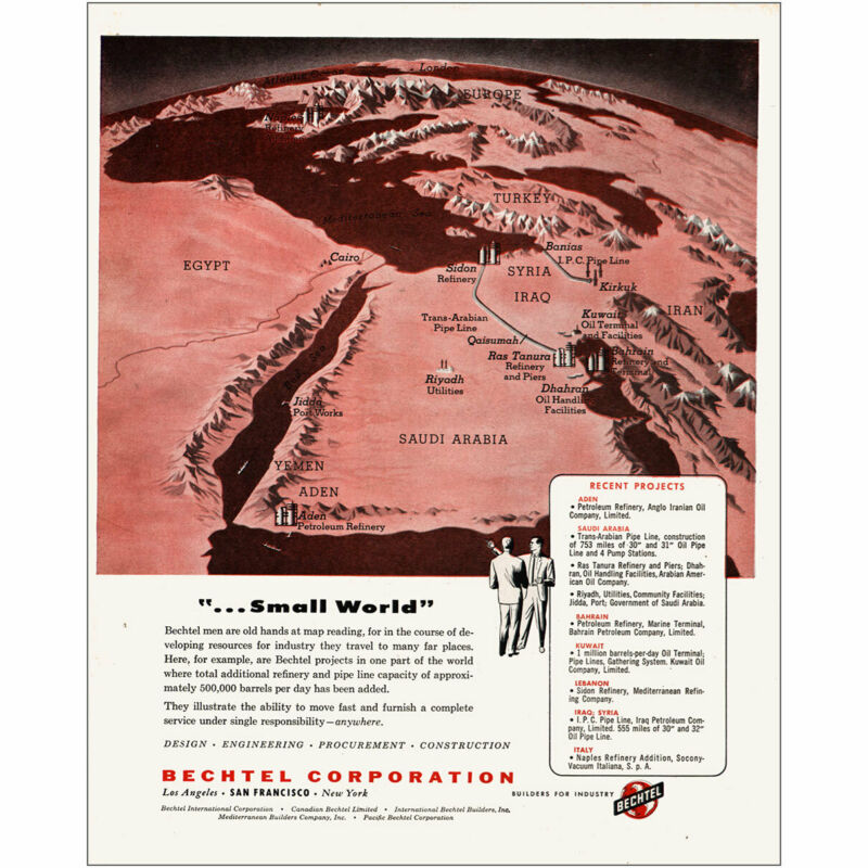 1954 Bechtel: Small World Middle East Vintage Print Ad